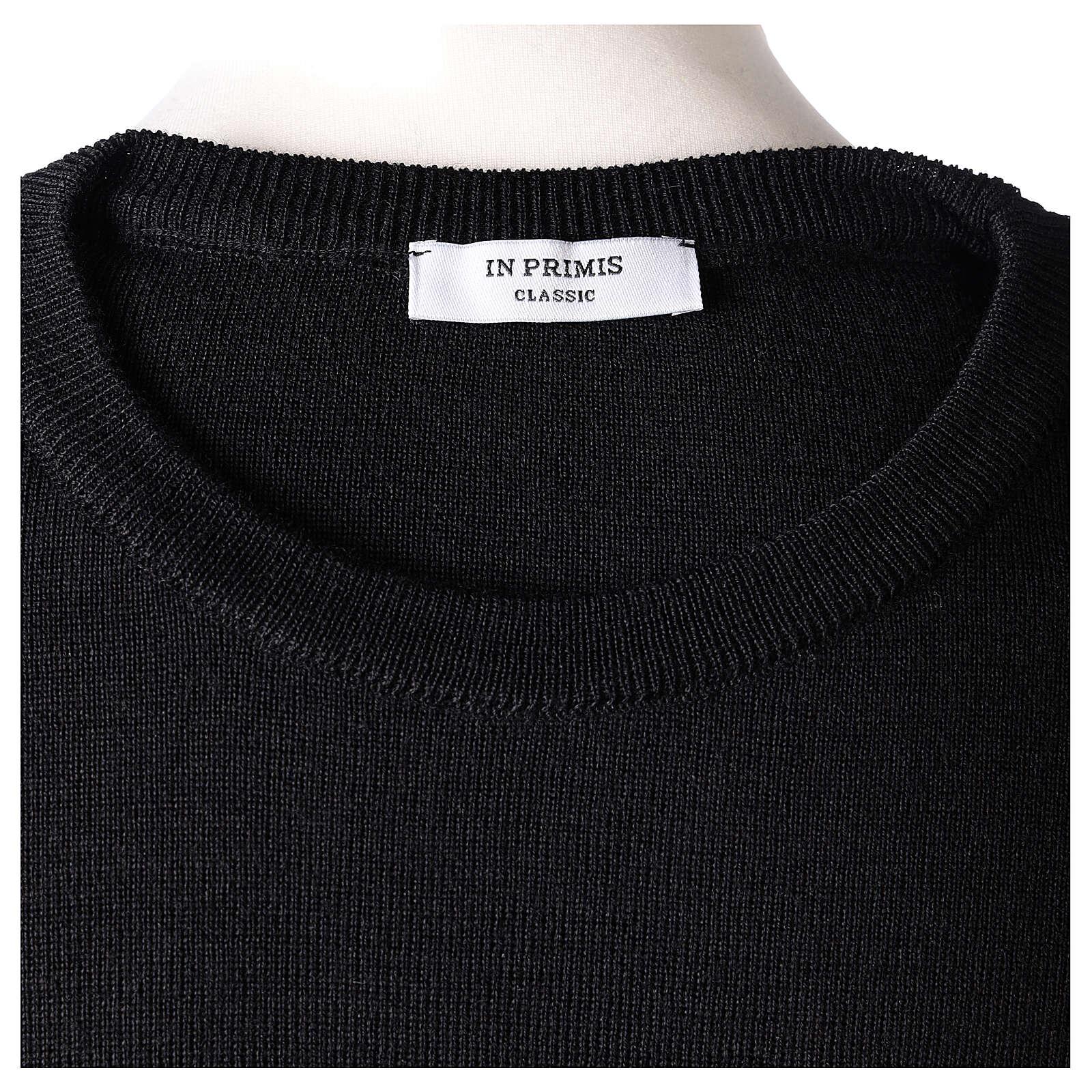 Crew neck clergy black jumper plain fabric 50% acrylic 50% merino wool In Primis 4