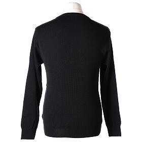 Crew neck clergy black jumper plain fabric 50% acrylic 50% merino wool In Primis s5