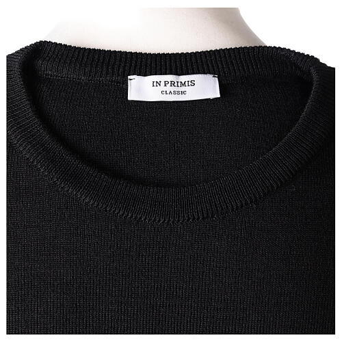 Crew neck clergy black jumper plain fabric 50% acrylic 50% merino wool In Primis 6