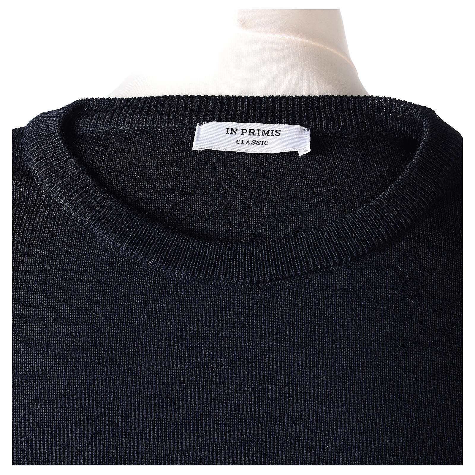 Pull prêtre ras-de-cou bleu jersey simple 50% laine mérinos 50% acrylique In Primis 4