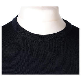 Pull prêtre ras-de-cou bleu jersey simple 50% laine mérinos 50% acrylique In Primis s2