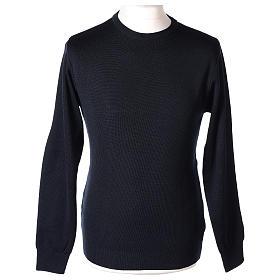 Pullover sacerdote girocollo blu in maglia unita 50% lana merino 50% acrilico In Primis s1