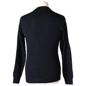 Pullover sacerdote girocollo blu in maglia unita 50% lana merino 50% acrilico In Primis s5