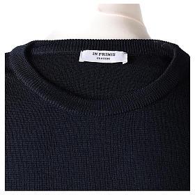 Pullover sacerdote girocollo blu in maglia unita 50% lana merino 50% acrilico In Primis s6