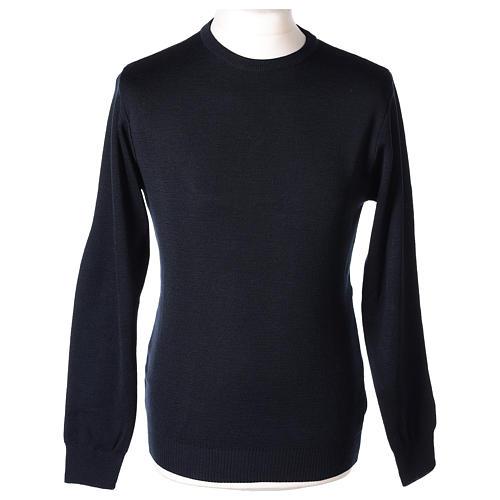 Pullover sacerdote girocollo blu in maglia unita 50% lana merino 50% acrilico In Primis 1