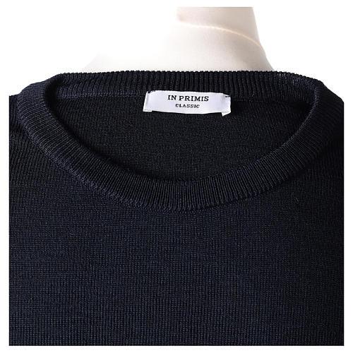Pullover sacerdote girocollo blu in maglia unita 50% lana merino 50% acrilico In Primis 6