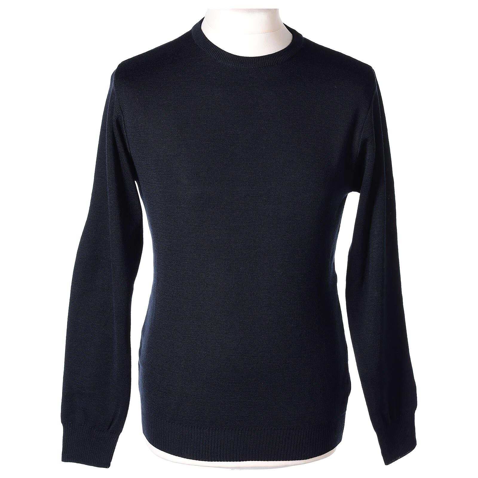 Pulôver sacerdote de gola redonda azul escuro em tela uniforme 50% lã de merino 50% acrílico In Primis 4