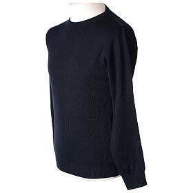 Pulôver sacerdote de gola redonda azul escuro em tela uniforme 50% lã de merino 50% acrílico In Primis s3
