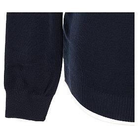 Pulôver sacerdote de gola redonda azul escuro em tela uniforme 50% lã de merino 50% acrílico In Primis s4