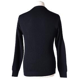Pulôver sacerdote de gola redonda azul escuro em tela uniforme 50% lã de merino 50% acrílico In Primis s5
