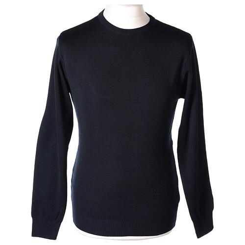 Pulôver sacerdote de gola redonda azul escuro em tela uniforme 50% lã de merino 50% acrílico In Primis 1