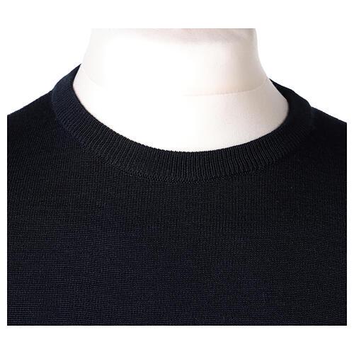 Pulôver sacerdote de gola redonda azul escuro em tela uniforme 50% lã de merino 50% acrílico In Primis 2