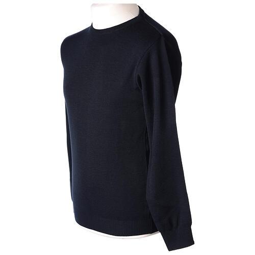 Pulôver sacerdote de gola redonda azul escuro em tela uniforme 50% lã de merino 50% acrílico In Primis 3