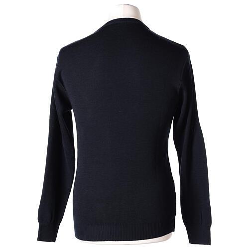 Pulôver sacerdote de gola redonda azul escuro em tela uniforme 50% lã de merino 50% acrílico In Primis 5