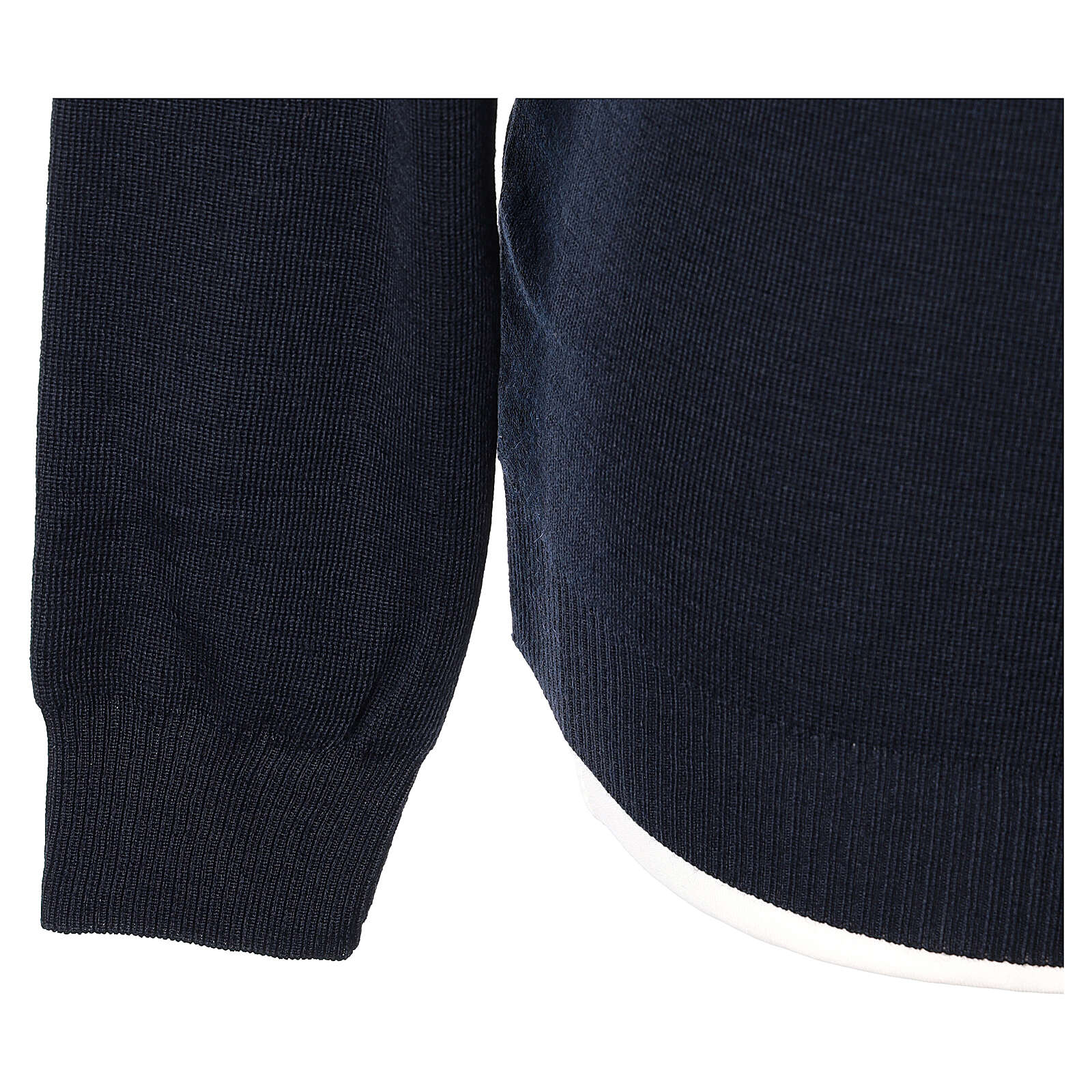 Crew neck clergy blue jumper plain fabric 50% acrylic 50% merino wool In Primis 4