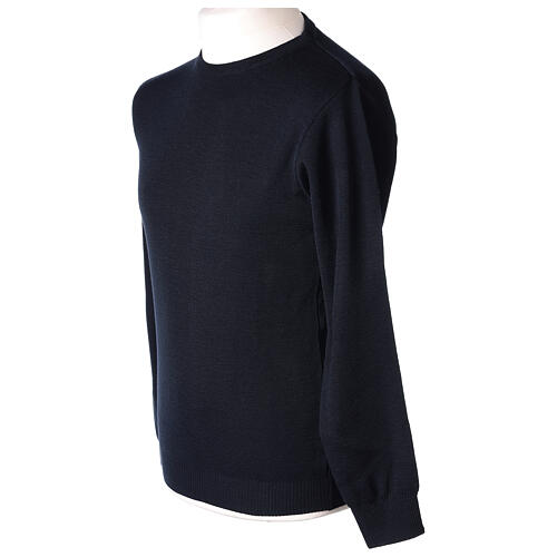 Crew neck clergy blue jumper plain fabric 50% acrylic 50% merino wool In Primis 3