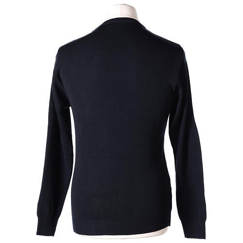 Crew neck clergy blue jumper plain fabric 50% acrylic 50% merino wool In Primis 5