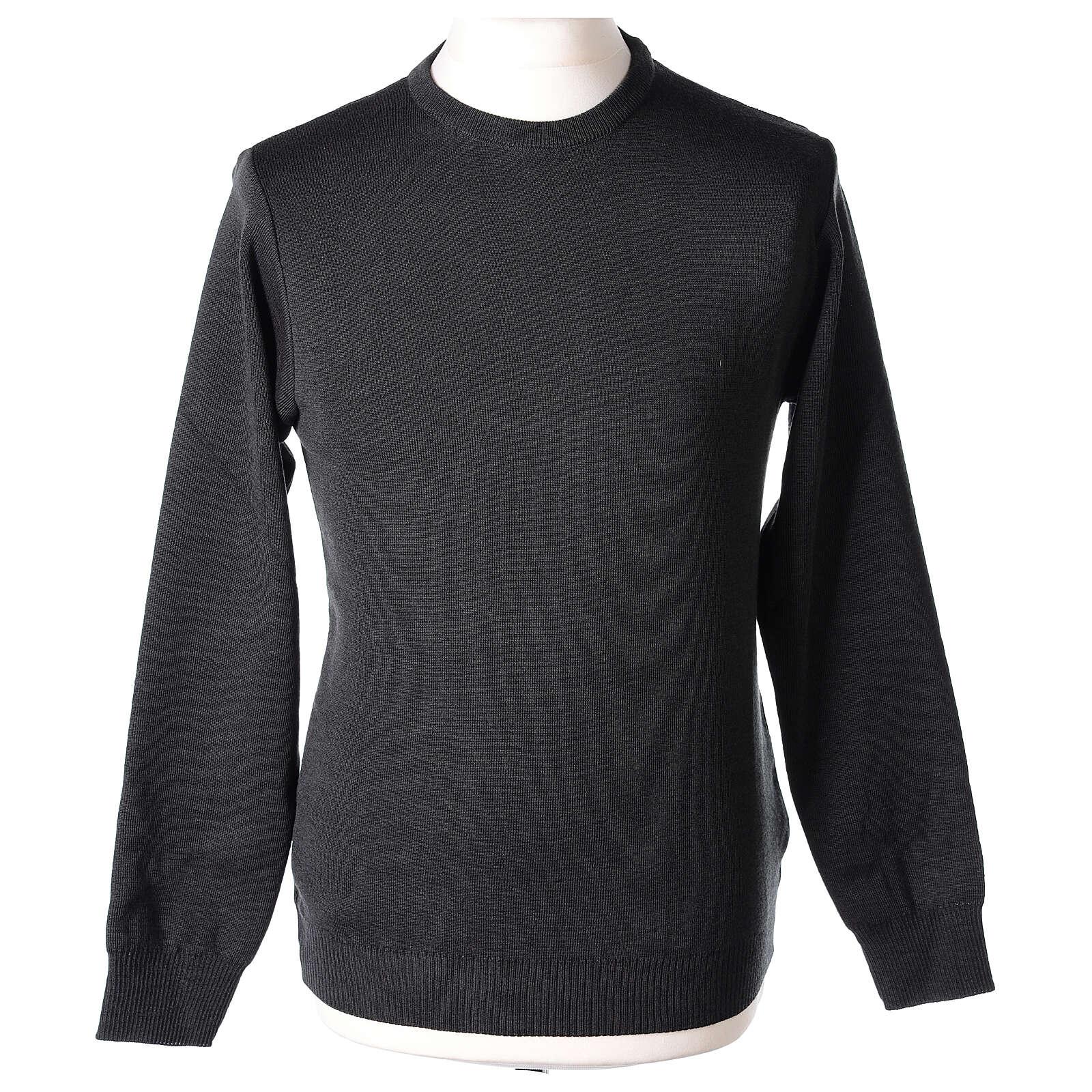 Jersey sacerdote cuello redondo antracita punto unido 50% lana merina 50% acrílico In Primis 4