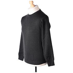 Jersey sacerdote cuello redondo antracita punto unido 50% lana merina 50% acrílico In Primis s3