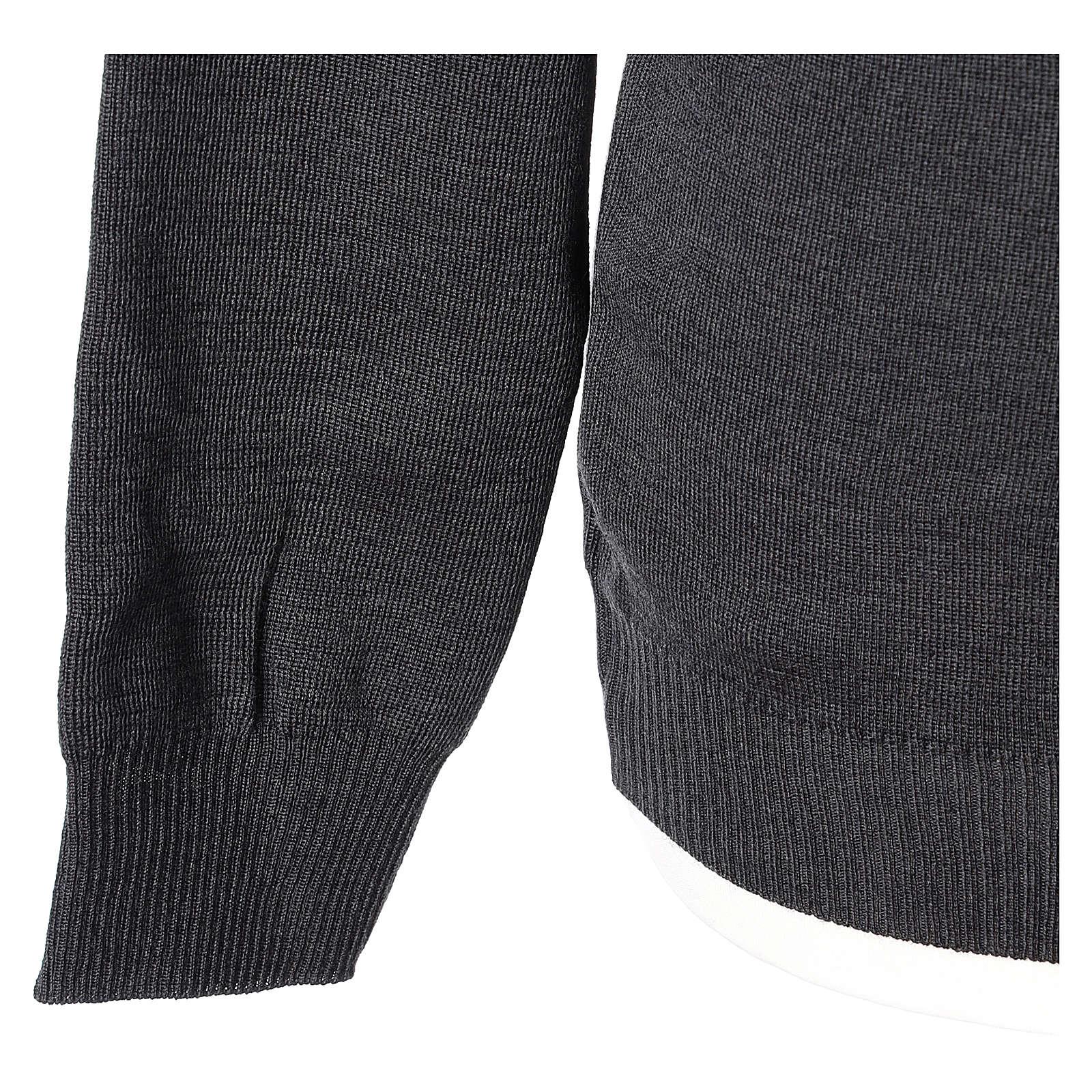 Pull prêtre ras-de-cou gris anthracite jersey simple 50% laine mérinos 50% acrylique In Primis 4