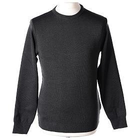 Pull prêtre ras-de-cou gris anthracite jersey simple 50% laine mérinos 50% acrylique In Primis s1