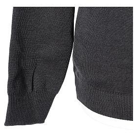 Pull prêtre ras-de-cou gris anthracite jersey simple 50% laine mérinos 50% acrylique In Primis s4