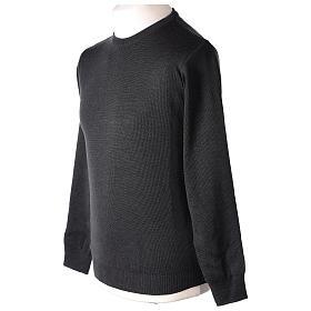 Pull prêtre ras-de-cou gris anthracite jersey simple 50% laine mérinos 50% acrylique In Primis s5
