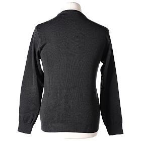 Pull prêtre ras-de-cou gris anthracite jersey simple 50% laine mérinos 50% acrylique In Primis s6