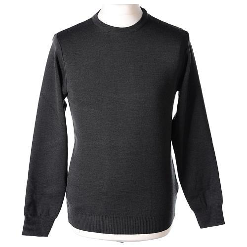 Pull prêtre ras-de-cou gris anthracite jersey simple 50% laine mérinos 50% acrylique In Primis 1