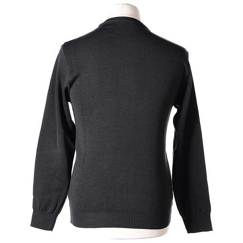Pull prêtre ras-de-cou gris anthracite jersey simple 50% laine mérinos 50% acrylique In Primis 6