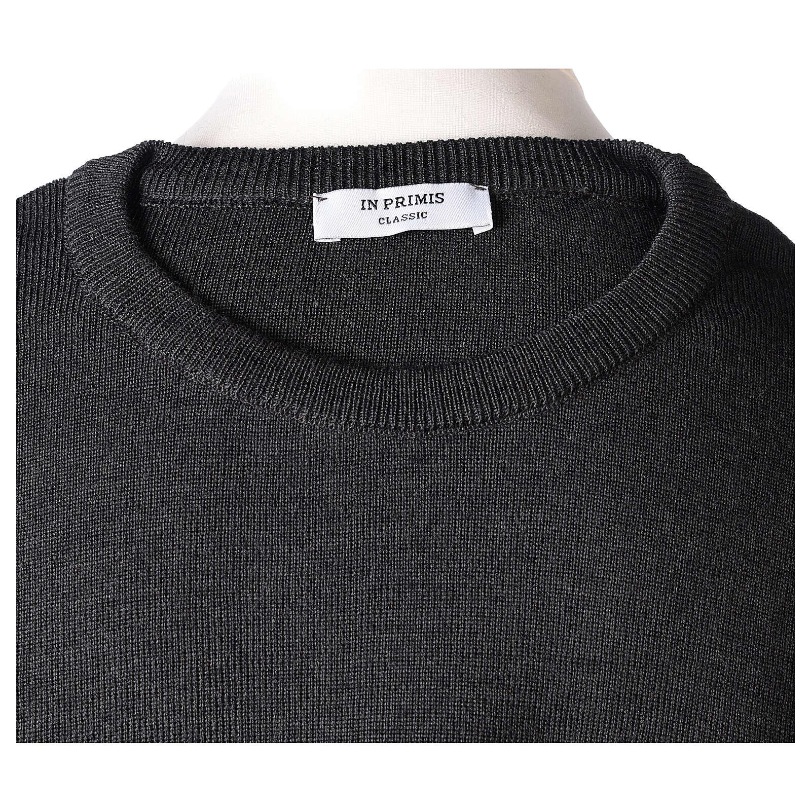 Crew neck clergy grey jumper plain fabric 50% acrylic 50% merino wool In Primis 4