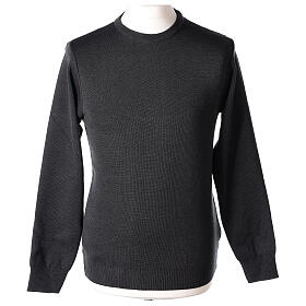 Crew neck clergy grey jumper plain fabric 50% acrylic 50% merino wool In Primis s1