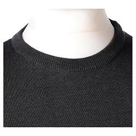 Crew neck clergy grey jumper plain fabric 50% acrylic 50% merino wool In Primis s2