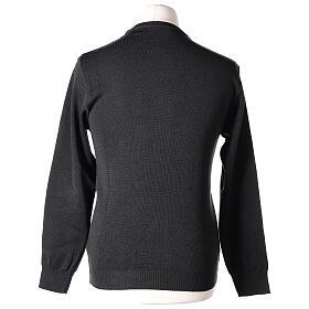 Crew neck clergy grey jumper plain fabric 50% acrylic 50% merino wool In Primis s6
