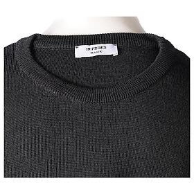 Crew neck clergy grey jumper plain fabric 50% acrylic 50% merino wool In Primis s7