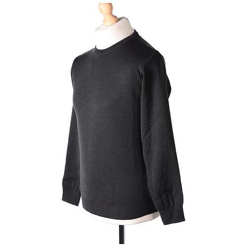 Crew neck clergy grey jumper plain fabric 50% acrylic 50% merino wool In Primis 3