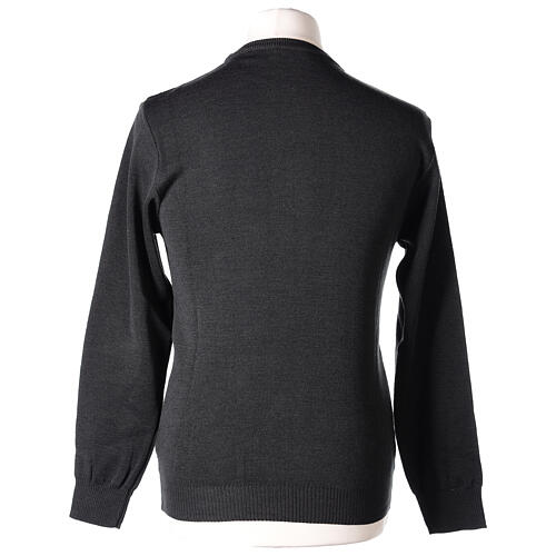 Crew neck clergy grey jumper plain fabric 50% acrylic 50% merino wool In Primis 6