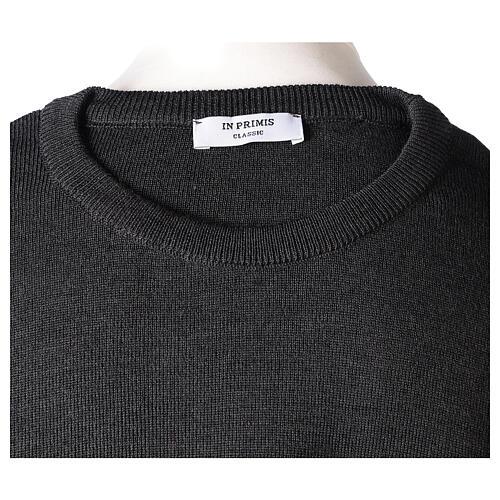 Crew neck clergy grey jumper plain fabric 50% acrylic 50% merino wool In Primis 7