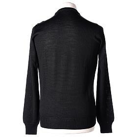 Jersey sacerdote negro cuello redondo punto al derecho 50% lana merina 50% acrílico In Primis s5