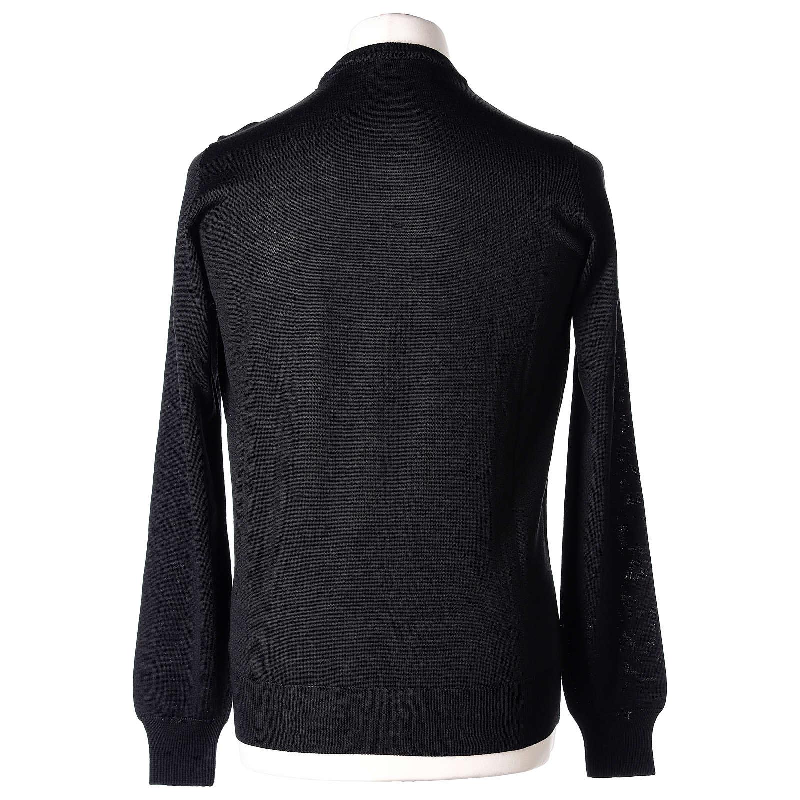 Pull prêtre noir ras-de-cou jersey simple 50% acrylique 50% laine mérinos In Primis 4