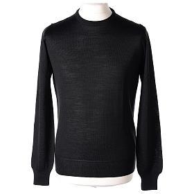 Pullover sacerdote nero girocollo a maglia rasata 50% lana merino 50% acrilico In Primis s1