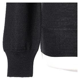 Pullover sacerdote nero girocollo a maglia rasata 50% lana merino 50% acrilico In Primis s3
