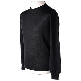 Pullover sacerdote nero girocollo a maglia rasata 50% lana merino 50% acrilico In Primis s4
