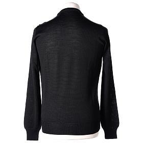 Pullover sacerdote nero girocollo a maglia rasata 50% lana merino 50% acrilico In Primis s5