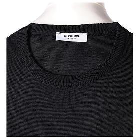 Pullover sacerdote nero girocollo a maglia rasata 50% lana merino 50% acrilico In Primis s6