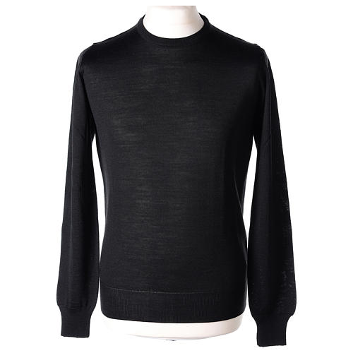 Pullover sacerdote nero girocollo a maglia rasata 50% lana merino 50% acrilico In Primis 1