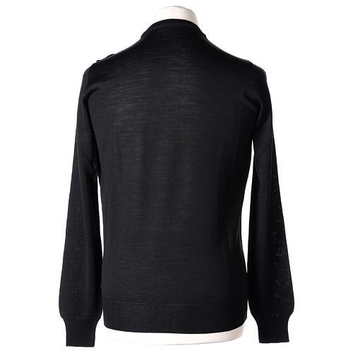 Pullover sacerdote nero girocollo a maglia rasata 50% lana merino 50% acrilico In Primis 5