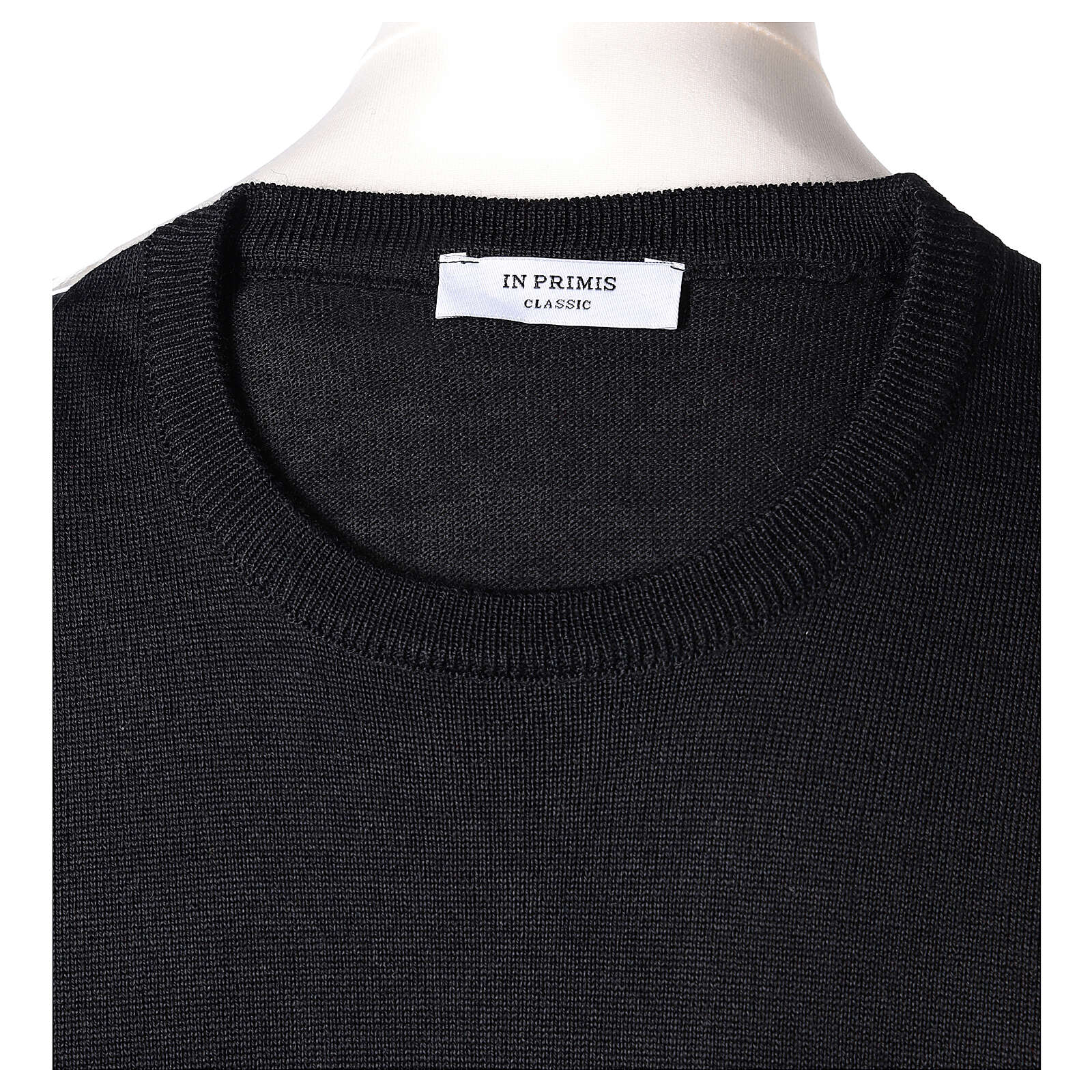 Crew neck black plain knitted jumper for clergymen 50% acrylic 50% merino wool In Primis 4