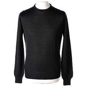 Crew neck black plain knitted jumper for clergymen 50% acrylic 50% merino wool In Primis s1