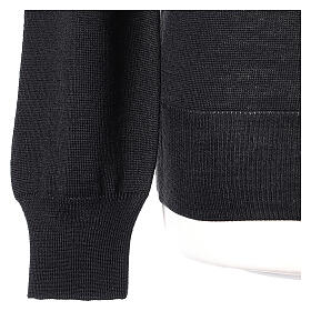 Crew neck black plain knitted jumper for clergymen 50% acrylic 50% merino wool In Primis s3
